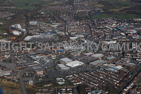 Bury high level aerial photograph with the famous Bury Market in the foreground and the Town centre and the new shopping cent...