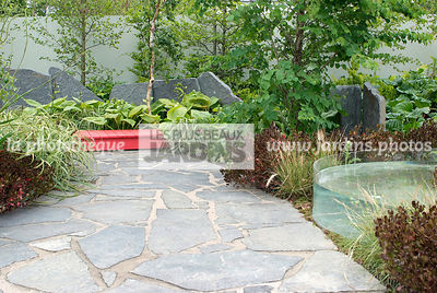 Contemporary garden, Pavement, Stone, Digital, Scenery, Stone path