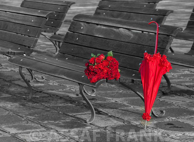 Bunch of Roses and an umbrella on a bench, Venice, Italy