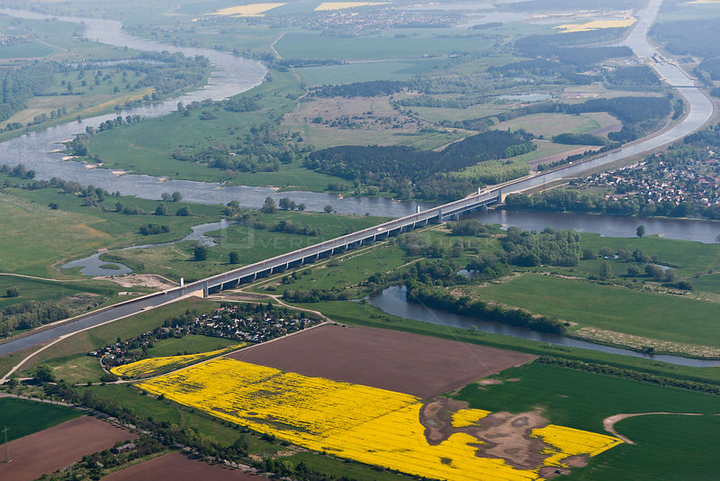 Aerial view of crossing near Magdeburg of an artificial watercourse/ viaduct bridge  crossing the Elbe River. Saxony-Anhalt, ...