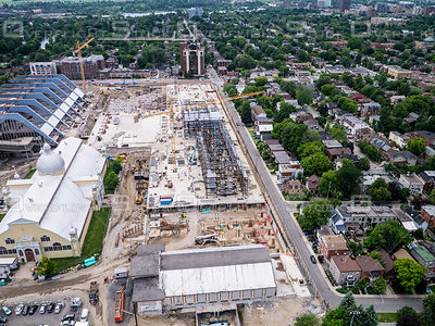 Kite Aerial Photograph of Lansdowne Park undergoing redevelopment construction.