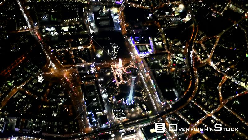 Night aerial video City center in the downtown area at the TV tower - Alexanderplatz - street Unter den Linden in Berlin, Germany