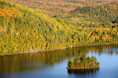 Aerial view of Pine island and Lake Wapizagonke in autumn. La Mauricie National Park, Quebec, Canada, October 2010