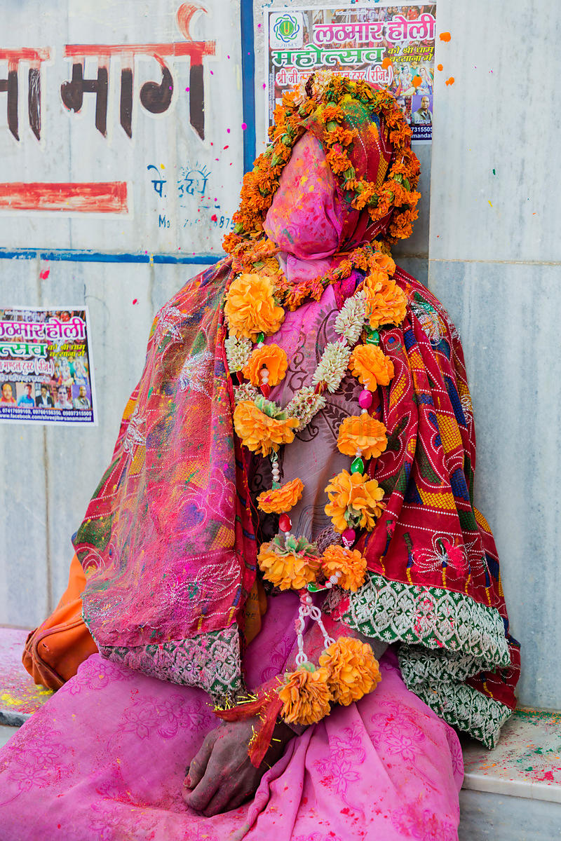 Portrait of a Person Wrapped up for Holi Celebrations