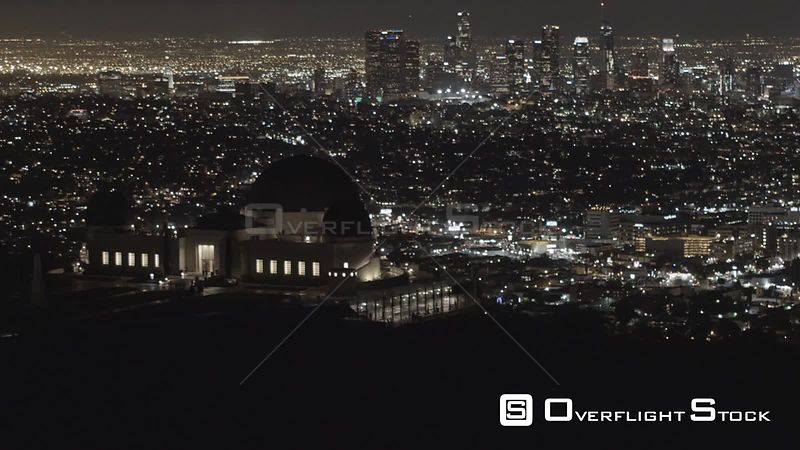 Griffith Obersvatory with L.A skyline in the background, city lights