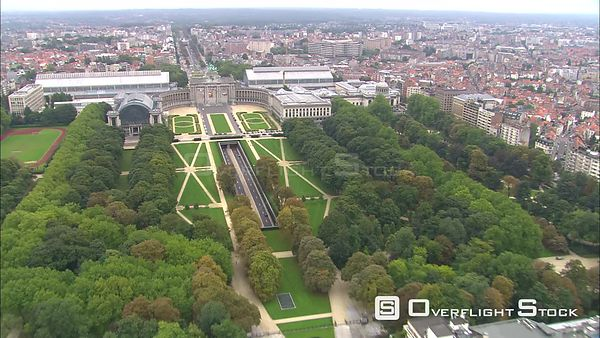 Wide aerial view of Cinquantenaire Park and Brussels cityscape