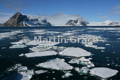 Hornsund landscape with sea ice, Spitsbergen, Svalbard