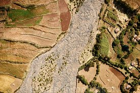 Aerial, Ethiopia, Fields and Dry River Bed