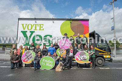 NO REPRO FEES - 11th May, 2018. Pictured at the 'Get Together For Yes' tour at Limerick city were volunteers and supporters.O...
