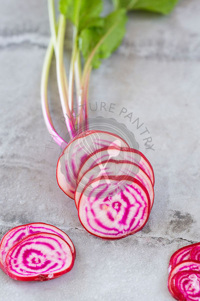 Sliced Chioggria Beetroot.