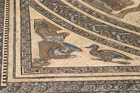 The amazing floor mosaic from the House of the Wild Beast Mosaic, Volubilis, Morocco; Landscape