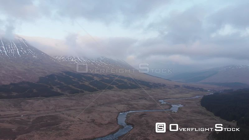 Aerial drone shot of valley and River Orchy near Glencoe in West Highlands of Scotland