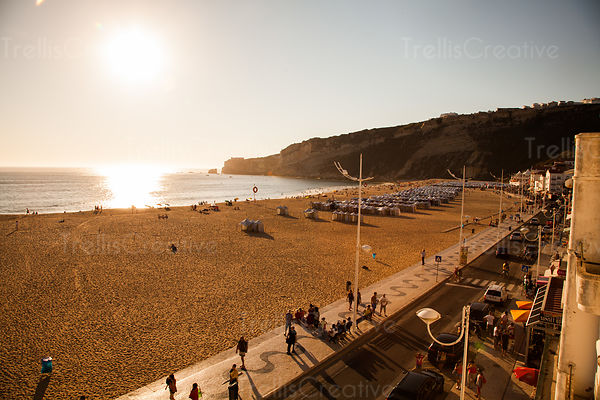 A view of the beach and ocean from a hotel balcony in Nazare, Portugal.