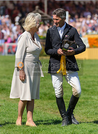 Andrew Nicholson receives his prize from the Duchess of Cornwall - show jumping phase,  Mitsubishi Motors Badminton Horse Tri...