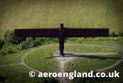 aerial photograph of the Angel of the North, a sculpture designed by Antony  Gormley