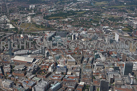 Manchester high level wide angle view across the business districts of Spingingfields and Spring Gardens and the retail centr...