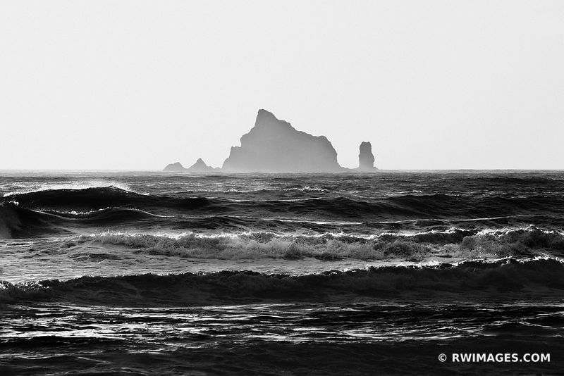 RIALTO BEACH OLYMPIC NATIONAL PARK WASHINGTON BLACK AND WHITE