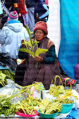 Woman putting rosary on cross made out of palm leaves on Palm Sunday, La Paz, Bolivia