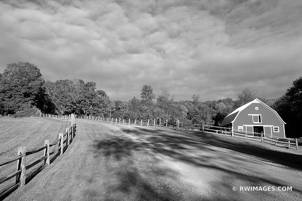 COUNTRY ROAD BARN RURAL VERMONT NEW ENGLAND BLACK AND WHITE