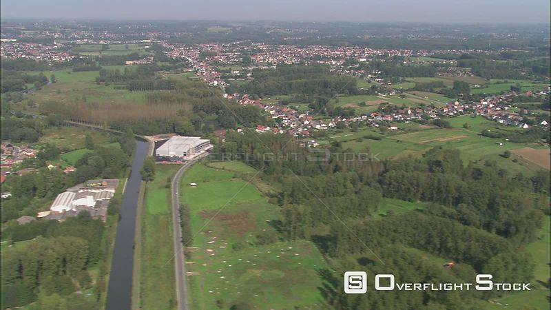 Flying over villages and farmland in Flemish Brabant, Belgium