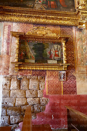 Painting and part of original Inca wall inside Church of the Immaculate Conception, Checacupe, Cusco Region, Peru