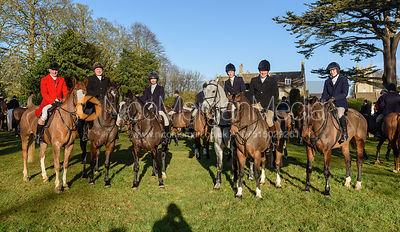 Robin Smith-Ryland, Stephanie Easterby, Lady Alice Manners, Luke Tomlinson, Caroline Bartram at the Cottesmore Hunt meet at P...