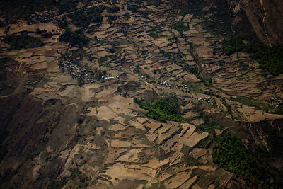 Aerial view of terraces and destroyed forests, Lumla, Arunachal Pradesh, India 2008