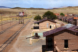 View over disused railway station in General Pando, La Paz Department, Bolivia