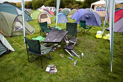 UK - Standon - A campsite strewn with rubbish at the Standon Calling Festival