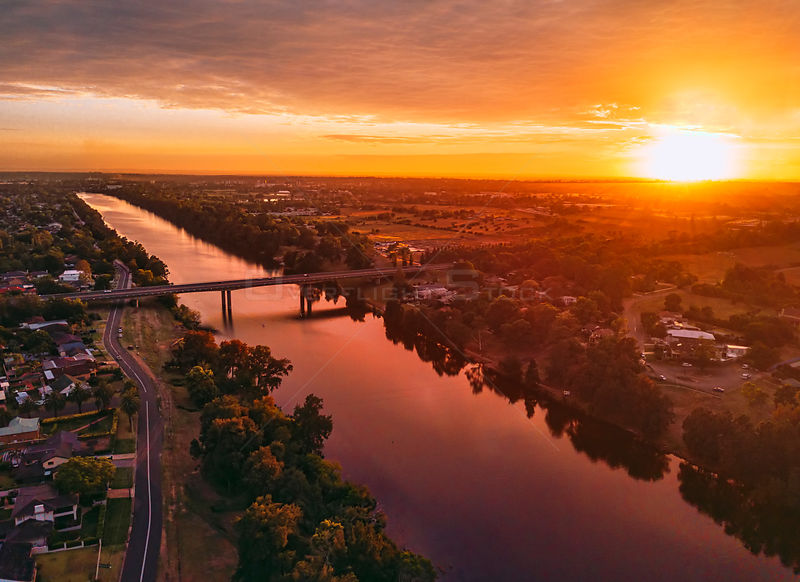 Sunrise with north east views over Nepean River and Penrith Australia