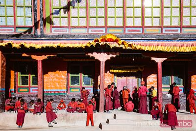 Young monks in a buddhist monastery, Upper Mustang, Nepal