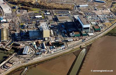 aerial photograph of Heysham Nuclear Power Station Lancs England UK