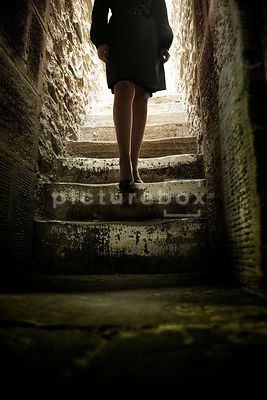 A semi-silhouette of a mystery woman walking down stone steps into a dark room.