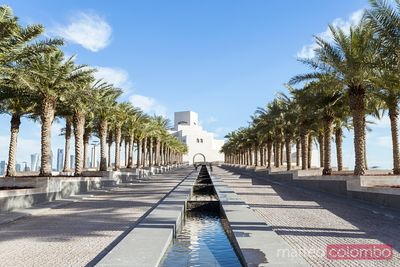 Palm tree lined entrance to Museum of Islamic Arts, Qatar