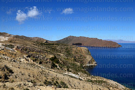 View looking south over Chincana Inca ruins from northern end of Sun Island, Lake Titicaca, Bolivia