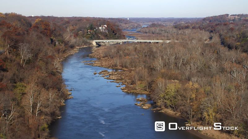Flying up the Potomac Toward the Chain Bridge, George Washington Memorial Parkway in Virginia on Left. Shot in November