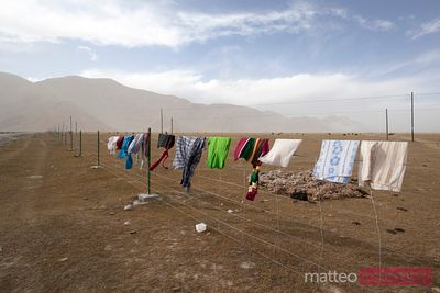 Clothes drying in open air, Karakul lake, China