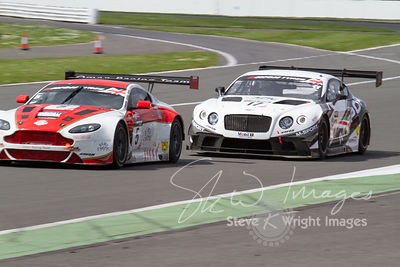 Oman Racing Aston Martin Vantage GT3 and M-Sport Bentley Continental GT3, in action at the Silverstone 500 - the third round ...