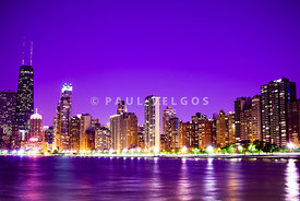 Chicago at Night with Purple Sky