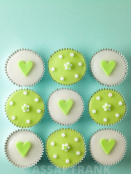 Cupcakes with heart shape decorations