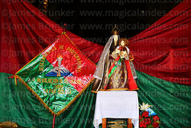 Statue of Virgen del Carmen in shrine in honour of members of the Junta Tuitiva in San Francisco church during events to commemorate the uprising of July 16th 1809, La Paz, Bolivia