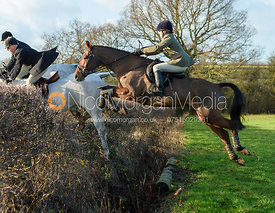 Vittoria Pannizon Jumping an open ditch and hedge.The Quorn at Barrowcliffe