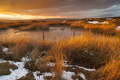 Winter sunset on Longstone Moor