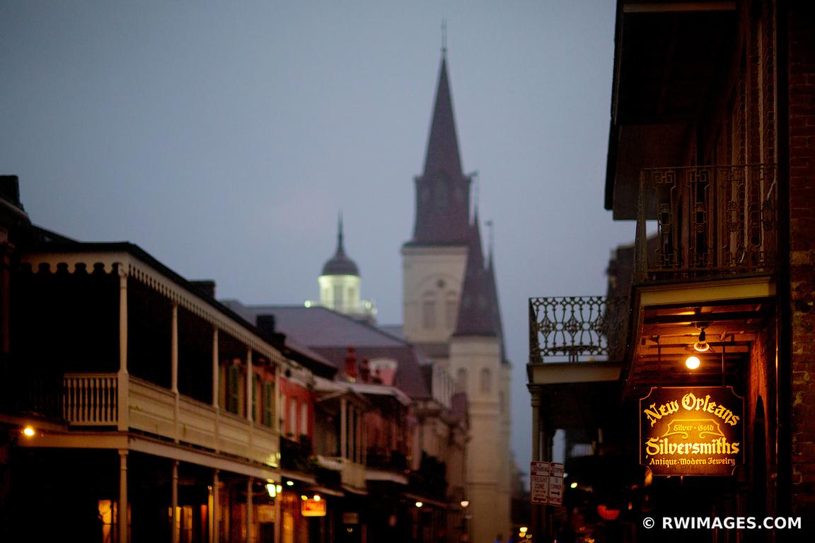 RAINY DAY EVENING FRENCH QUARTER NEW ORLEANS LOUISIANA COLOR