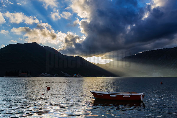 Sun Setting over Adriatic Inlet at Perast