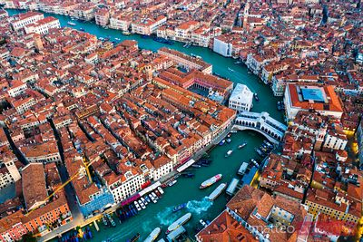 Aerial view of Grand Canal, Venice, Italy