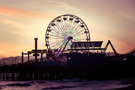 Santa Monica Pier Ferris Wheel Retro Photo