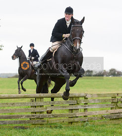 Ed Winterton jumping a hunt jump at Thorpe Satchville - Quorn Hunt Opening Meet 2016