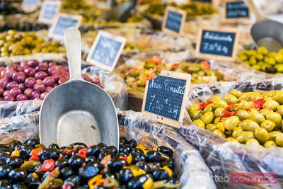 Fresh olives at local farmers market, Provence, France
