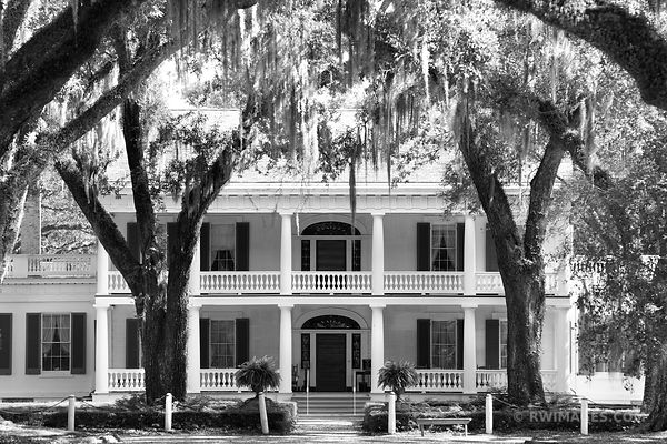 ROSEDOWN PLANTATION AND GARDENS ST. FRANCISVILLE LOUISIANA BLACK AND WHITE